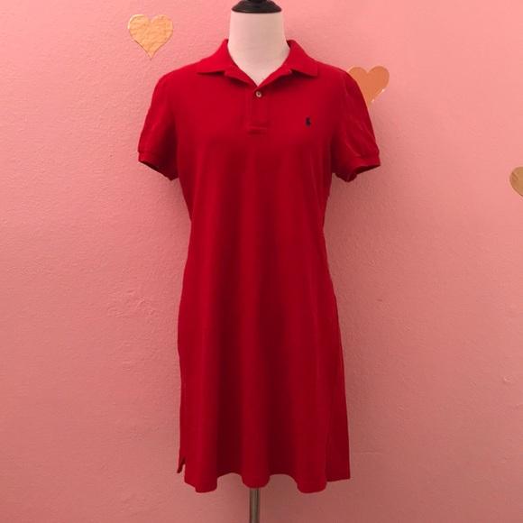 Ralph Polo Dress Lauren Sport Women's Red E2H9ID